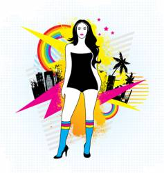 neon retro girl vector image