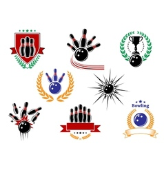 Set of colored bowling emblems and badges vector image