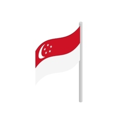 Singapore flag icon isometric 3d style vector image vector image