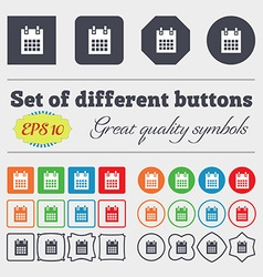 calendar page icon sign Big set of colorful vector image