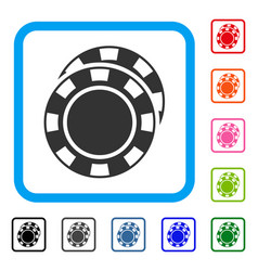 casino chips framed icon vector image