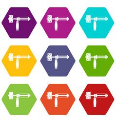 precision grinding machine icon set color vector image vector image