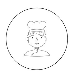 chef icon in outline style isolated on white vector image vector image