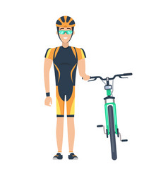 cyclist standing by bicycle vector image vector image