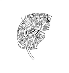 Dwn Feather Zentangle For Coloring vector image vector image