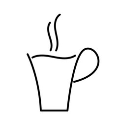 hot coffee cup outline drawing vector image