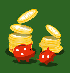 money piggy banks and dollar coins on green vector image vector image