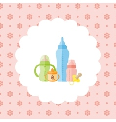 Set of baby feeding bottles pacifier vector image