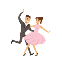 young couple dancing boogie woogie dance colorful vector image vector image