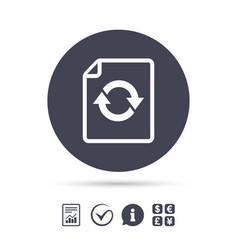 File document refresh icon reload doc symbol vector