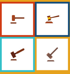flat icon hammer set of justice tribunal defense vector image