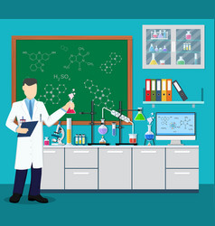 laboratory assistant with test tube vector image vector image