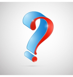 Red and Blue 3d Question Mark Symbol vector image vector image