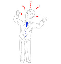 scared businessman stands vector image
