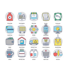 shopping and electronic payments flat icons vector image