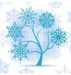 winter tree snowflakes vector image vector image