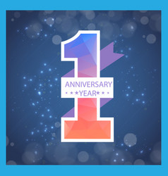 1 year anniversary ribbon blur blue background vec vector
