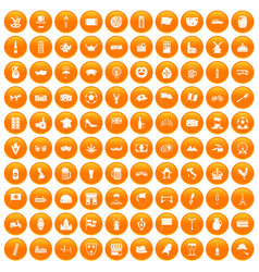 100 europe countries icons set orange vector