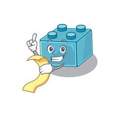 A funny cartoon character lego brick toys vector