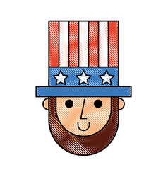 Abraham lincoln with hat comic character vector
