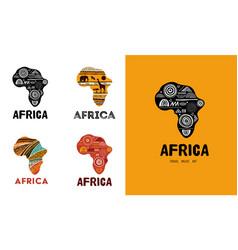 Africa patterned map logo design banner vector