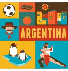 Argentina poster and background with set of icons vector image
