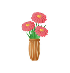 Big red flowers in stripped vase isolated on white vector