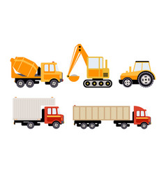 Cargo construction and specialized machinery set vector