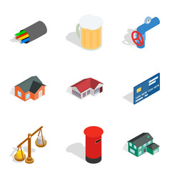 Cash supply icons set isometric style vector