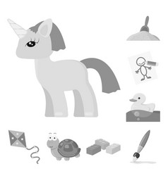 Children toy monochrome icons in set collection vector
