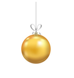 christmas yellow glass ball with ribbon isolated vector image