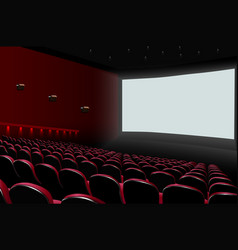 Cinema auditorium with red seats and white blank vector