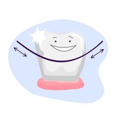 clean teeth dental floss use hygiene floss vector image