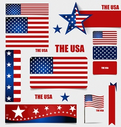 Collection of American Flags Flags concept design vector image