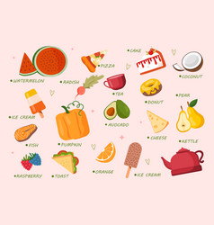 colorful food stickers vector image