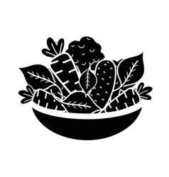 Contour fresh and delicious vegetables inside of vector