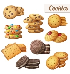 Cookies set of cartoon food icons isolated vector