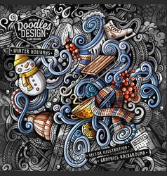 doodles winter graphics vector image