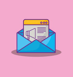 envelope and web interface vector image