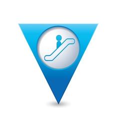 Escalator icon map pointer3 blue vector