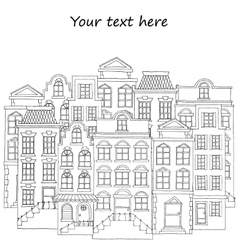 European street with houses drawing hand drawn vector image
