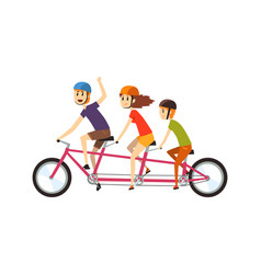family riding tandem bike father mother and son vector image