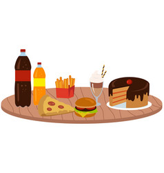 Fast food meal set fatty unhealthy high-calorie vector