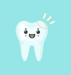 Filling tooth with emotional face cute colorful vector