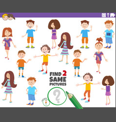 Find two same picture child characters game vector