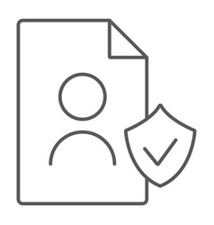 gdpr personall data thin line icon private and vector image
