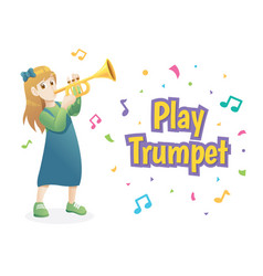 girl playing trumpet vector image