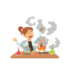 Girl scientist after a failed experiment mixture vector