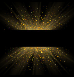 gold sparkle background black frame golden light vector image