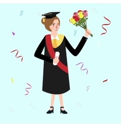 graduation female woman holding bouquet flower vector image